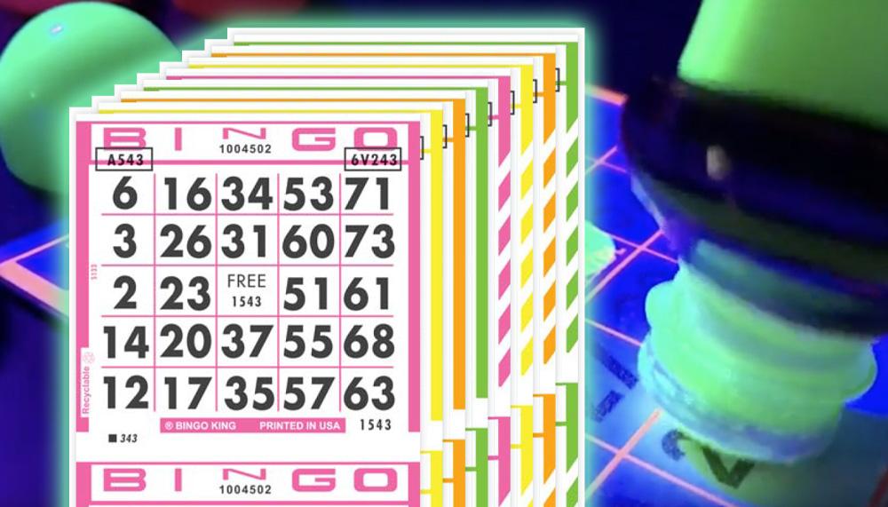 Glowing, Flourescent Bingo Paper