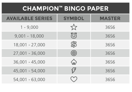 Champion Bingo paper Series