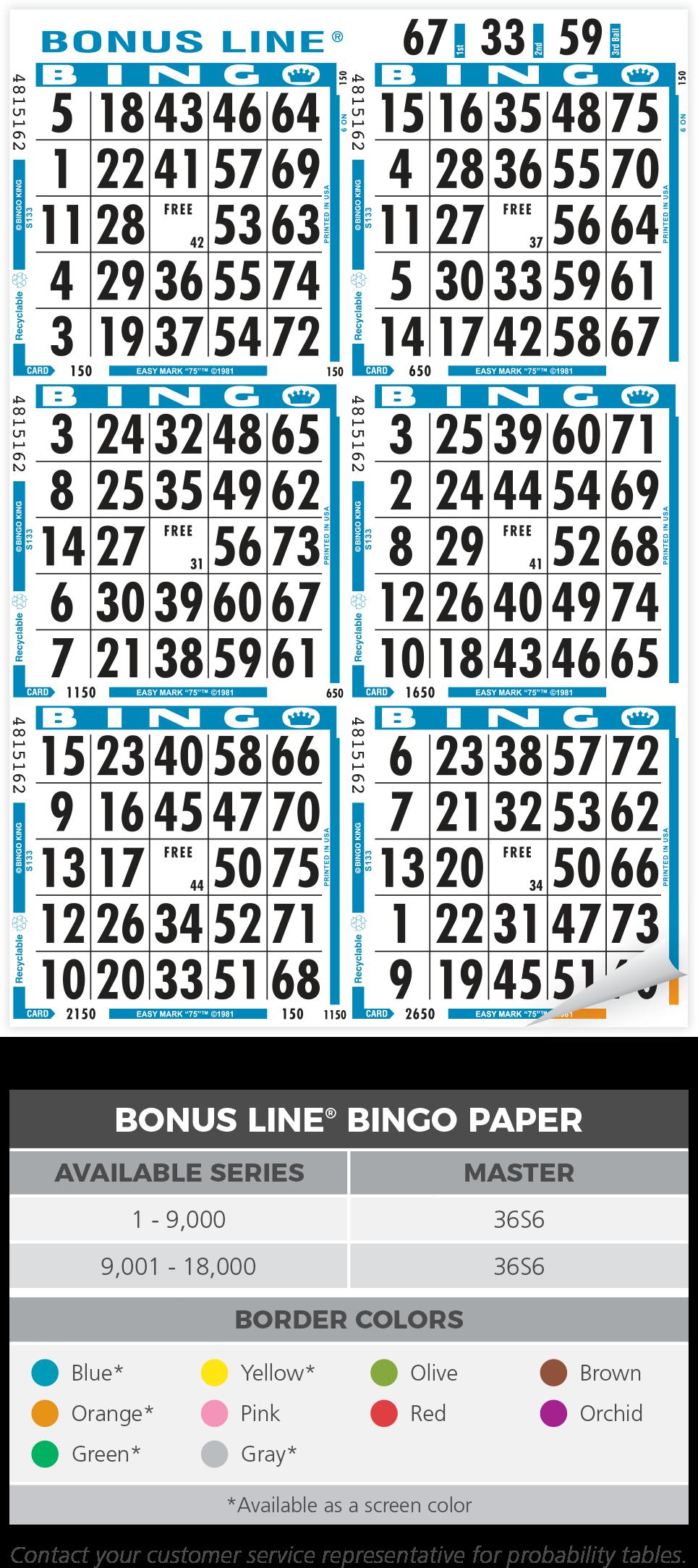 Bonus Line Bingo Paper