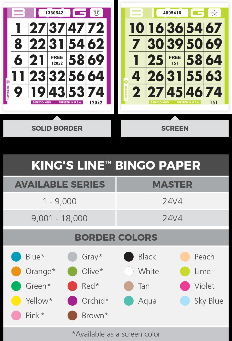 King's Line Bingo Paper