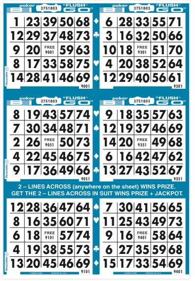 Poker Flush Bingo Paper