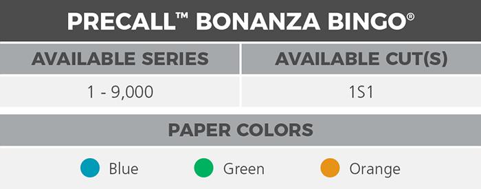 Precall Bonanza Bingo® Paper